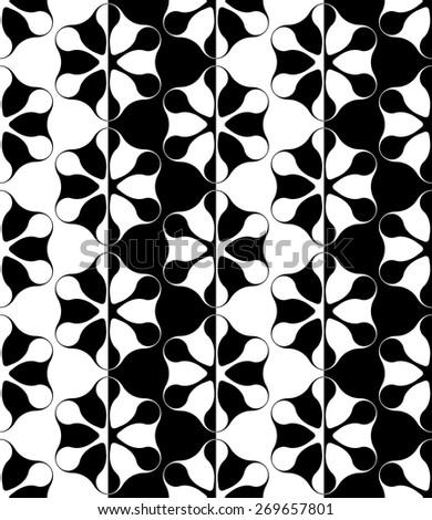 Seamless Flower Pattern. Vector Monochrome Texture - stock vector