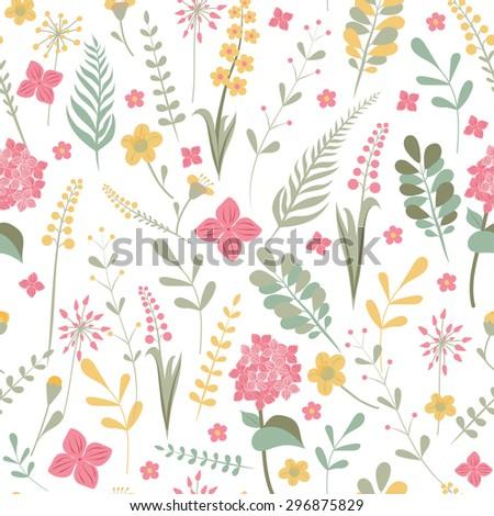 Seamless flower pattern wallpaper. Illustration of vector elements easily editable. - stock vector