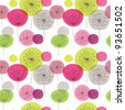 Seamless flower pink green retro background pattern in vector - stock vector