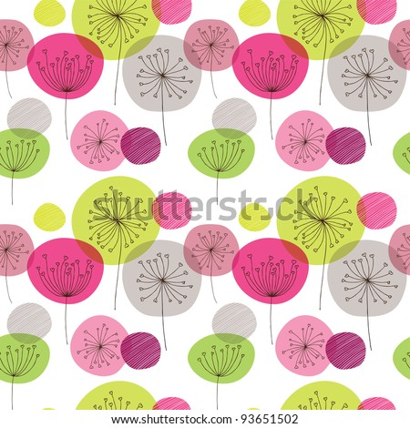 Seamless flower pink green retro background pattern in vector