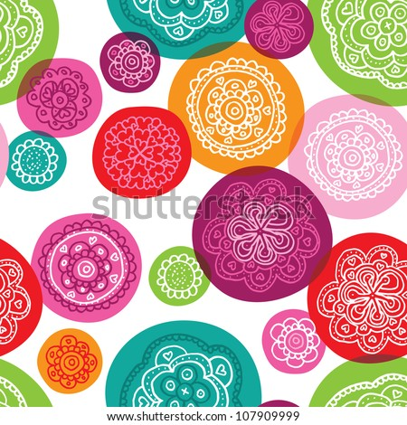 Seamless flower pink red retro background pattern in vector - stock vector