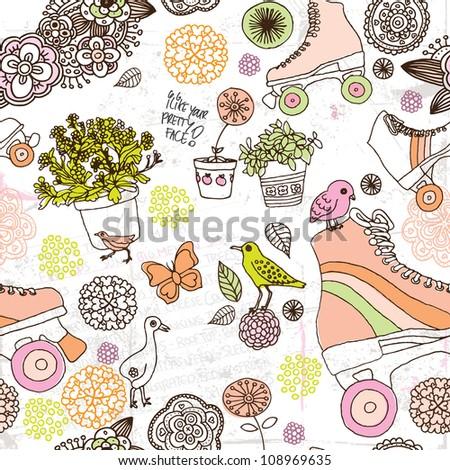 Seamless flower teenager roller skates derby background pattern in vector - stock vector