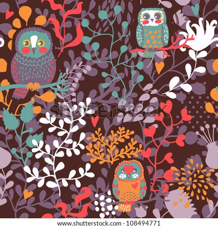 Seamless flowers and owl pattern background in vector - stock vector