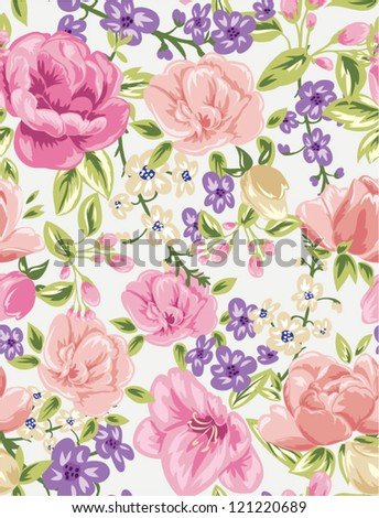 seamless flowers,floral pattern ,tropical feeling pattern, high fashion ,trendy colors - stock vector