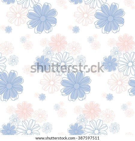 Seamless flowers pattern, cute floral texture, vector illustration. - stock vector