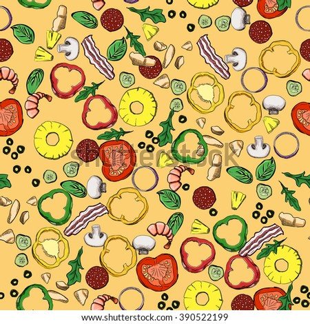 Seamless food ingredients vector pattern. For your design - stock vector