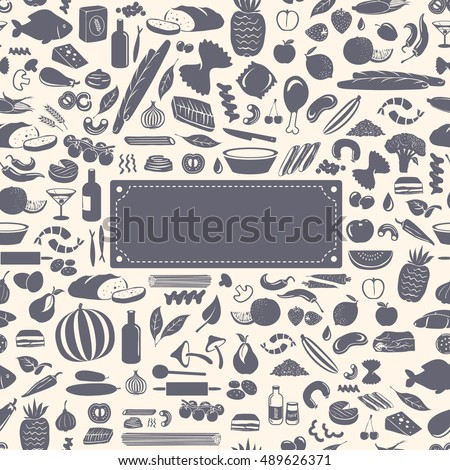 Seamless food pattern made from small vegetable, fruits and cooking accessories illustrations with empty label for your text.