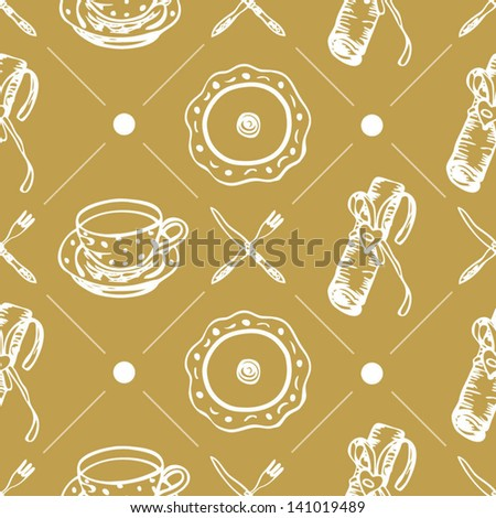 Seamless food pattern with plates and dishes on the gold background in vector - stock vector