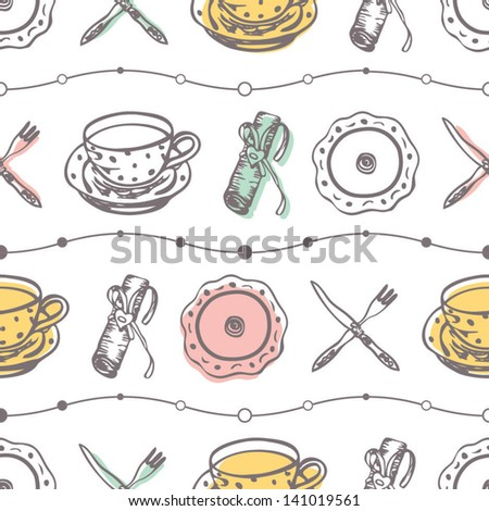 Seamless food pattern with plates and dishes on the light background in vector - stock vector