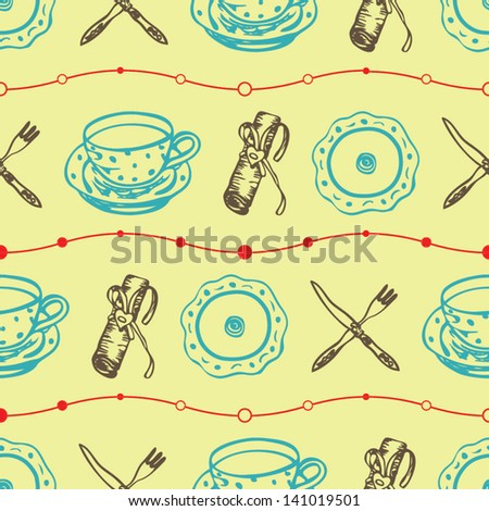 Seamless food pattern with plates and dishes on the light yellow background in vector - stock vector