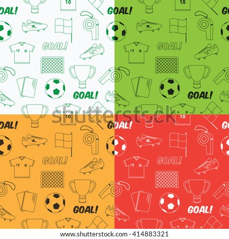 seamless football soccer pattern in four variations