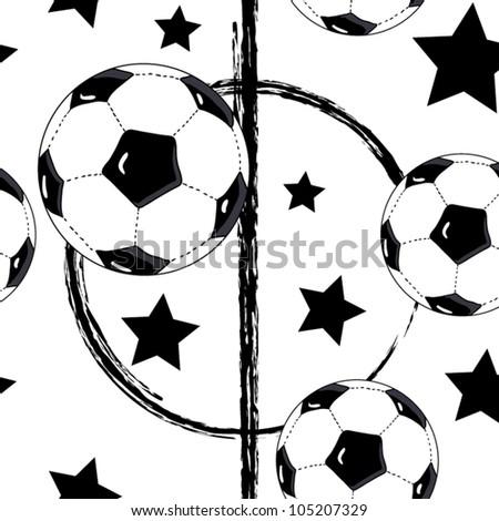 seamless football wallpaper  soccer on grass background - stock vector