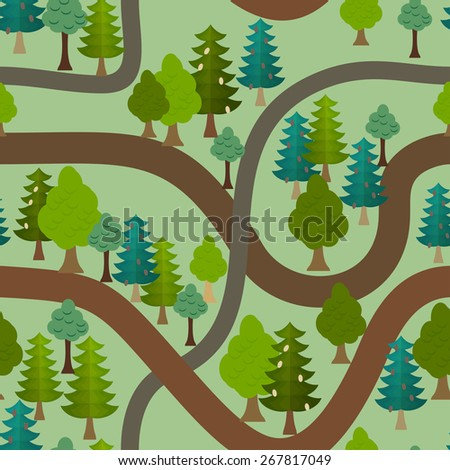 Seamless forest pattern. Cartoon trails and trees background