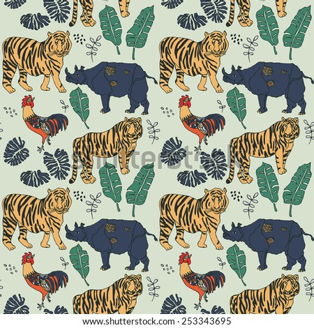 Seamless forest pattern with tigers and rhino in vector - stock vector