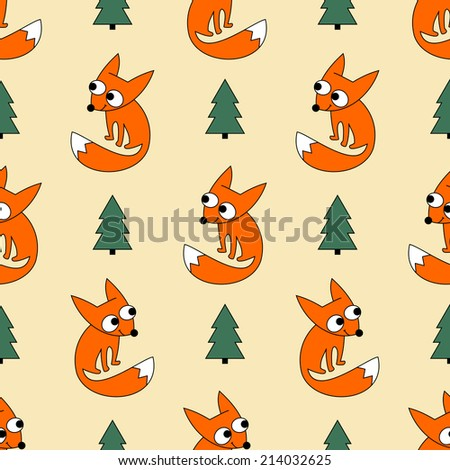 Seamless fox forest and christmas tree background pattern in vector. Cute little foxy  on light background. - stock vector