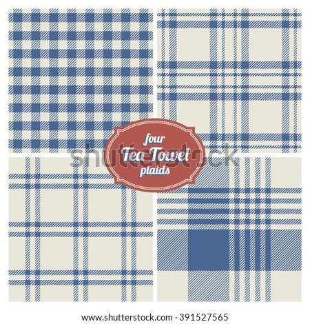 Seamless French Tea Towel Plaids, Set of 4 - stock vector