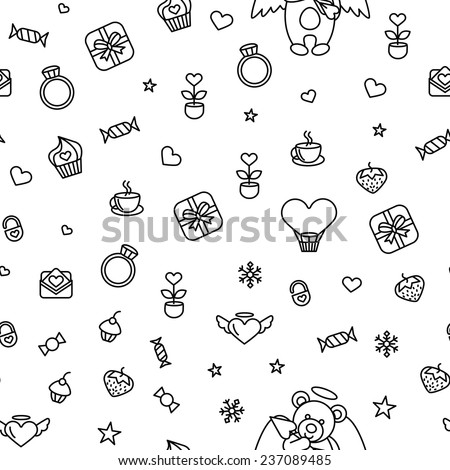 Seamless from romantic love vector design elements. Good for use as a pattern for Saint Valentine's Day  - stock vector