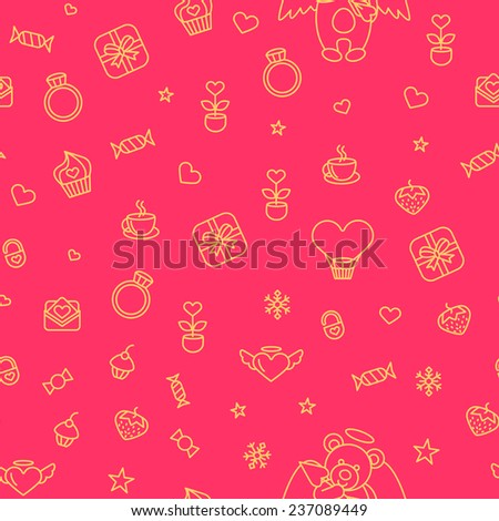 Seamless from romantic love vector design elements on pink background. Good for use as a pattern for Saint Valentine's Day