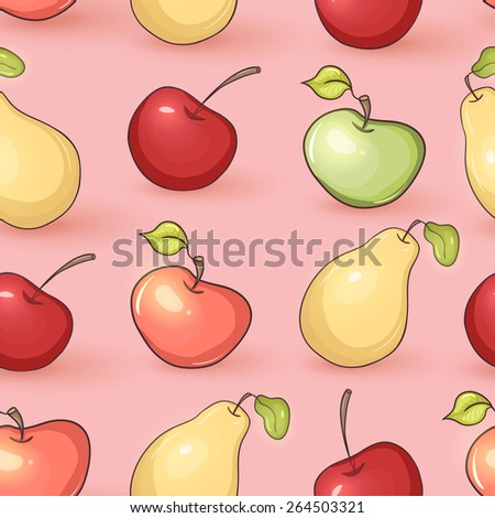 Seamless fruit background - stock vector