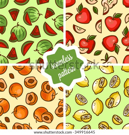 Seamless fruit backgrounds set- vector patterns with apricot, watermelon, lemon, apple . Vector illustration. Funny fruit. Cute Seamless Patterns. - stock vector