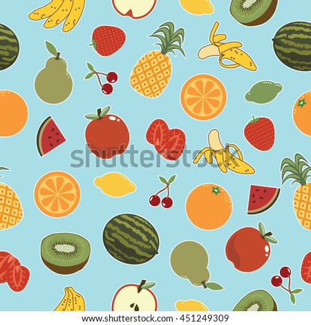 seamless fruit pattern decoration on blue background with clipping mask