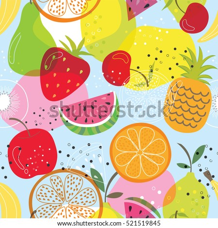 Seamless fruit pattern with colorful design