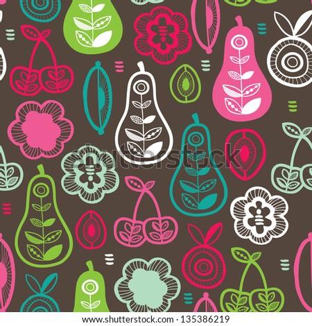 Seamless fruit season garden illustration background pattern in vector - stock vector