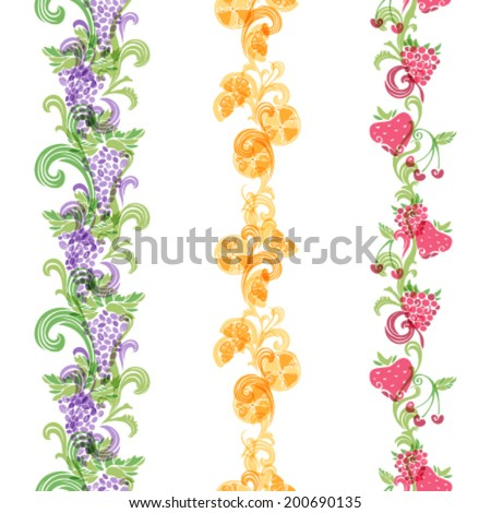 Seamless fruits borders. Vertical borders for your design. Grape, raspberry, cherry, orange and strawberry. - stock vector