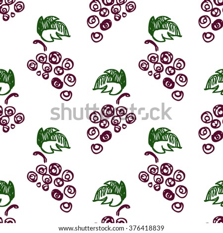 Seamless fruits vector pattern, bright background with close up grape on the white backdrop. Hand sketch drawing. Imitation of ink drawing. Series of Fruits and Hand Drawn Patterns. - stock vector