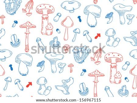 seamless fungus vector pattern - stock vector
