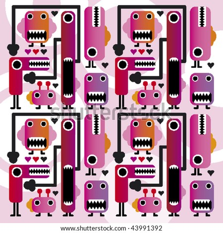 Seamless funny crazy monsters kids pattern in vector - stock vector