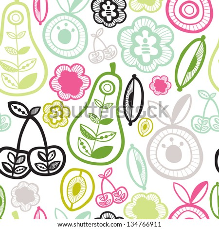 Seamless garden fruit retro illustration background pattern in vector - stock vector