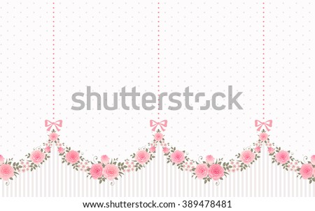 Seamless Garlands Roses Bows On Vintage Stock Vector 389478481