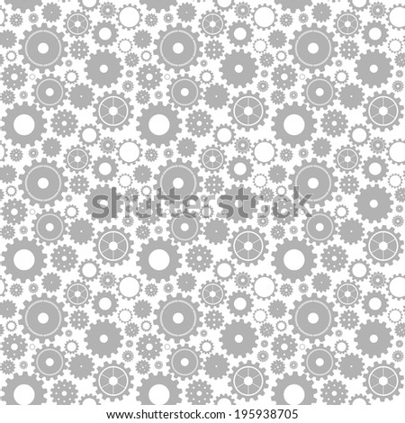 Seamless gear (cogwheel) pattern - grey gears on white - stock vector