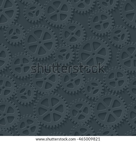 Seamless gears pattern. Dark paper with cut out effect. Cog wheels 3d seamless background. Vector EPS10.