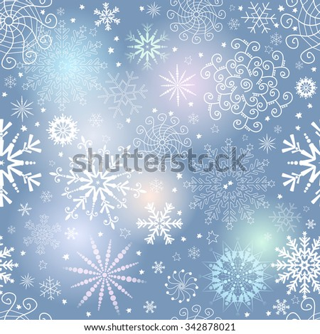 Seamless gentle colorful christmas pattern with translucent snowflakes, vector eps 10 - stock vector