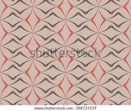 Seamless geometric abstract pattern. Diagonal rhomb shaped, braiding figure texture. Unusual rhombus bands, lines on dark background. Brown, orange, beige colors. Vector - stock vector