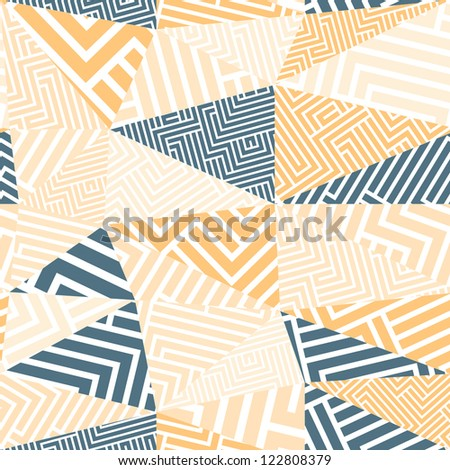Seamless geometric abstraction with maze lines, vector background. - stock vector