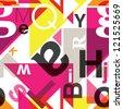 Seamless geometric alphabet background pattern in vector - stock photo