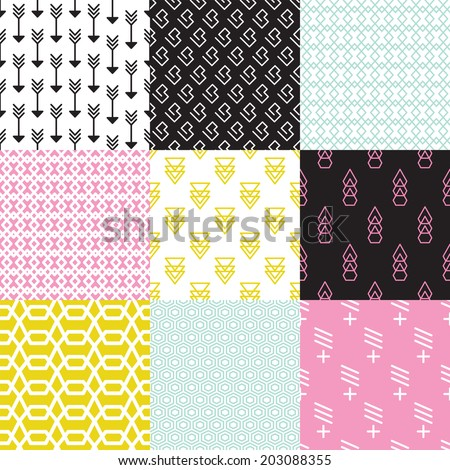 Seamless geometric arrow triangle abstract shapes in pastel wallpaper decorative background pattern in vector - stock vector