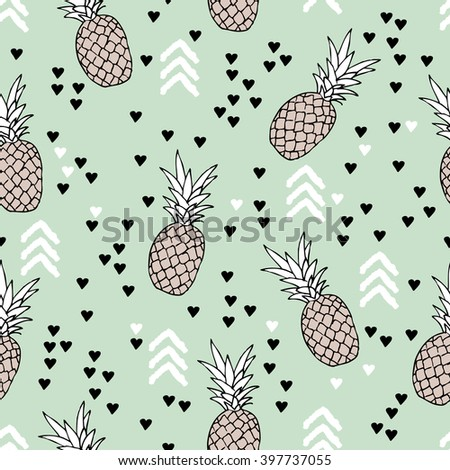 Seamless geometric arrows Indian summer pineapple fruit tropical illustration Scandinavian style design background pattern in vector - stock vector