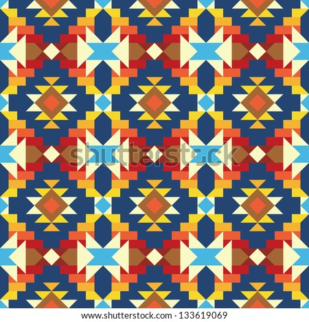 Seamless geometric aztec pattern 1 - stock vector