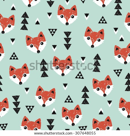 Seamless geometric baby fox kids woodland theme background Christmas mint and coral illustration pattern in vector - stock vector