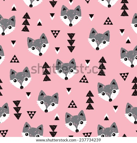 Seamless geometric baby fox kids woodland theme background pattern in vector - stock vector
