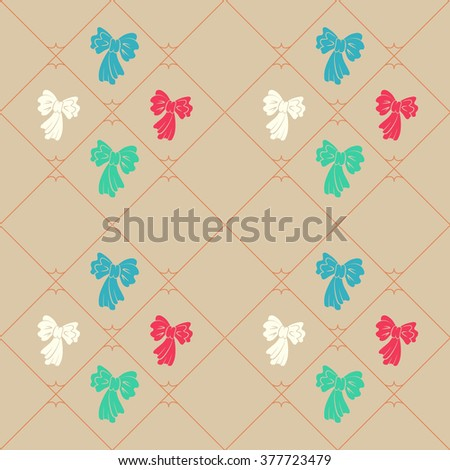 Seamless geometric baby pattern. Texture of diagonal strips, lines, bows. Soft blue, red, green figures on beige background. Children, hipster colored. Vector - stock vector
