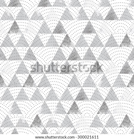 Seamless geometric background. Watercolor triangles. Grey and white. Wavy lines.