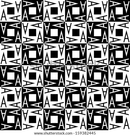 Seamless geometric background with letter A. Black and white  - stock vector