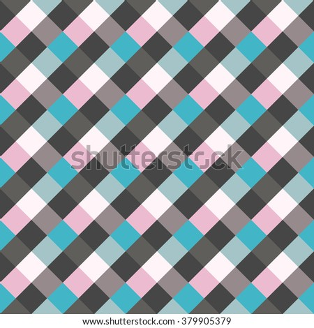 Seamless geometric checked pattern. Diagonal square, braiding, woven line background. Patchwork, rhombus, staggered texture. Blue, gray, lilac colors. Winter theme. Vector - stock vector