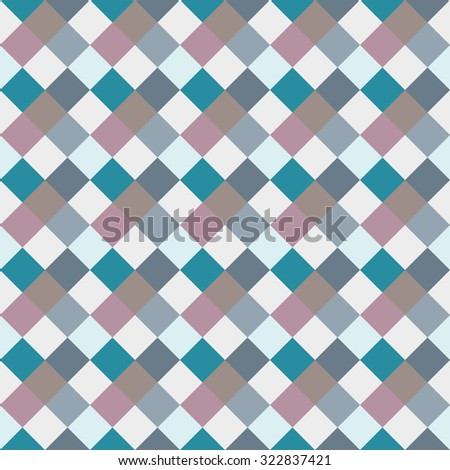 Seamless geometric checked pattern. Diagonal square, braiding woven line background. Rhombus, patchwork, staggered figure texture. Light, blue, gray, turquoise, sea, soft colored. Winter theme. Vector - stock vector
