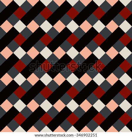 Seamless geometric checked pattern. Diagonal square, rhombus texture. Patchwork background. Brown, red, white, gray, chocolate, coffee colored. Vector